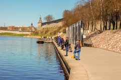 Pskov, Russland 04 kann 2017 Zahlreiche Fischer auf dem Velikaya-Fluss nahe dem Kreml lizenzfreies stockbild