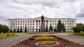 Pskov State Pedagogical University on Lenin Square in Pskov, Rus Stock Photo
