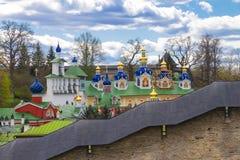 The Pskovo-Pechersky Dormition Monastery. The Pskov-Caves Monastery. Pechory, Pskov, Russia stock photography