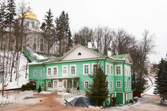 Pskovo-Pechersky monastery. Russia, Pskov.  House of Vicar and St. Michael's Cathedral of the Holy Dormition Pskovo-Pechersky (Pskov-Caves) monastery in winter Royalty Free Stock Photography