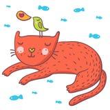Pássaro bonito e gato dos desenhos animados Fotos de Stock