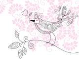 Pássaro com flores Fotografia de Stock Royalty Free