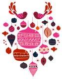 Pássaro e esferas do vetor Imagens de Stock Royalty Free
