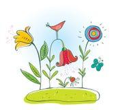 Pássaro e flores (vetor) Fotos de Stock Royalty Free