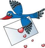 Pássaro que carreg uma letra de amor Fotos de Stock Royalty Free