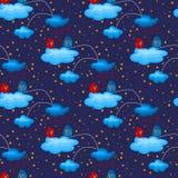 Pássaros do amor da noite no teste padrão sem emenda das nuvens Fotos de Stock