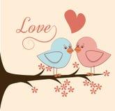 Pássaros do amor e uma árvore Fotografia de Stock Royalty Free