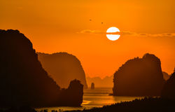 2 pássaros voam no nascer do sol bonito entre a montanha em Phang Nga Imagem de Stock