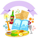 Pssover design. Items related to Passover with a decorative blank banner Royalty Free Stock Photo