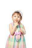 Psst girl. Silence forbidden secret finger mouth Royalty Free Stock Image