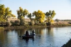 Pstrągowy połowu derby na Północnego Platte rzece Wyoming Fotografia Royalty Free