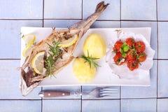 Pstrąg piec na grillu ryba Fotografia Stock