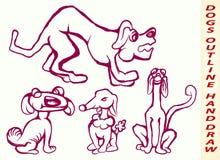 psy rysują zielona ręka odizolowywającego lekkiego kontur Zdjęcia Royalty Free