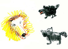Psy szczekają dla lwa Zdjęcia Stock