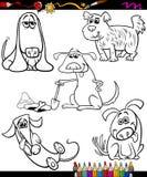 Psy ustawiają kreskówki kolorystyki książkę Obrazy Royalty Free