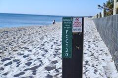 Psy Zabraniający na plaża znaku zdjęcia royalty free