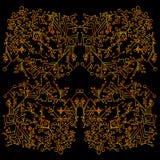 Psychédélique, modèle de kaléidoscope, découpe rouge jaune, d'isolement sur le fond noir Illustration Stock