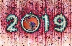 2019 psychédélique visqueux avec la terre image libre de droits