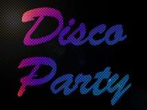 Psychadelic LED beleuchtet Disco-Party-Zeichen-Text stock abbildung