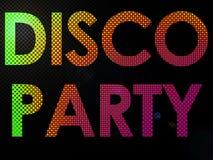 Psychadelic LED illumina il testo del segno del partito della discoteca illustrazione vettoriale