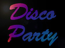 Psychadelic LED Lights Disco Party Sign Text stock illustration