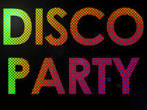 Psychadelic LED Lights Disco Party Sign Text Stock Photo