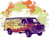 psychadelic skåpbil för illustration Arkivfoto