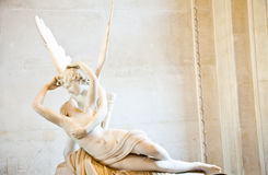Psyche revived by Cupid kiss. Antonio Canova's statue Psyche Revived by Cupid's Kiss, first commissioned in 1787, exemplifies the Neoclassical devotion to love Royalty Free Stock Images
