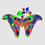 Psychedelic λαϊκό σχέδιο τέχνης πεταλούδων ελεύθερη απεικόνιση δικαιώματος