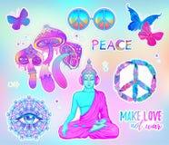 Psychedelic αυτοκόλλητη ετικέττα καθορισμένη: trippy μανιτάρια, σημάδι όξινο Buddh ειρήνης απεικόνιση αποθεμάτων