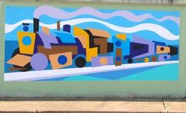 Psychedelic τοιχογραφία τραίνων στο δρόμο του James στη Μέμφιδα, Τένεσι Στοκ Φωτογραφίες