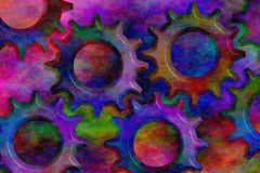Psychedelic 3D Cogs vector illustration