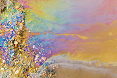 Psychedelic Abstract of Toxic Oil Pollution on Water Royalty Free Stock Image