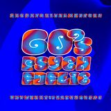 Psychedelic alphabet vector font. Hand drawn letters and numbers in 60s hippy style on a bright background. Stock vector typescript for your design royalty free illustration