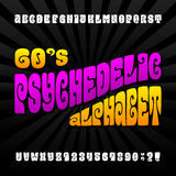 Psychedelic alphabet vector font Royalty Free Stock Photos