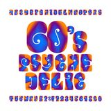 Psychedelic Alphabet Vector Font Hand Drawn Letters And Numbers In 60s Hippy Style