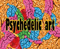Psychedelic art colorful background of human brain Royalty Free Stock Image