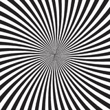 Psychedelic background with monochrome rays, lines or stripes converging in center. Backdrop with optical illusion or Stock Images