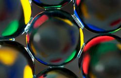 Psychedelic beads. An extreme macro of water beads Royalty Free Stock Images