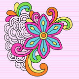 Psychedelic Big Flower Notebook Doodle Vector. Groovy Notebook Doodles Flower Design Element Vector Illustration on Pink Lined Paper Background Royalty Free Stock Photos