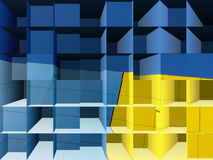 Psychedelic blue and yellow 3d cube background Stock Photography
