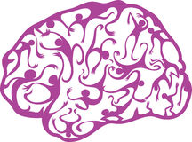 Psychedelic brain. Made by figures of people in motion vector illustration