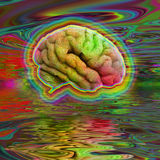 Psychedelic Brain. In Vivid Rainbow Hues Royalty Free Stock Photography