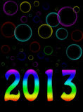 Psychedelic bubble background new year 2013. Bright and cheery party or card style design Royalty Free Stock Image