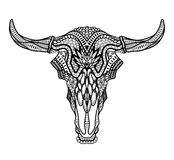Psychedelic Bull / auroch skull with horns on white background. Stock Photo