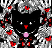 Psychedelic Cat Background. With ladybugs and butterflies in red colors Royalty Free Stock Image
