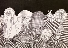 Psychedelic characters, doodle. Hand drawn ink illustration of psychedelic landscape and characters Stock Photos