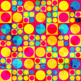 Psychedelic circle seamless pattern with grunge effect Royalty Free Stock Image