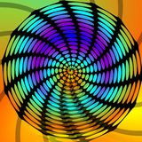 Psychedelic circle swirly shape, black drawing with rainbow rounded background, vivid expressive colors Royalty Free Stock Photo