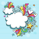 Psychedelic Clouds Notebook Doodle Vector. Psychedelic Clouds, Stars, and Hearts Notebook Doodles Vector Illustration on Lined Paper Background Stock Image